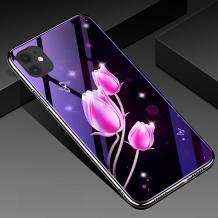 """Луксозен стъклен твърд гръб със силиконов кант за Apple iPhone 11 6.1"""" - розови лалета"""