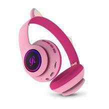 Стерео LED слушалки Bluetooth Cat Ear CT-66 / Wireless Headphones / безжични LED слушалки Cat Ear CT-66 - розови