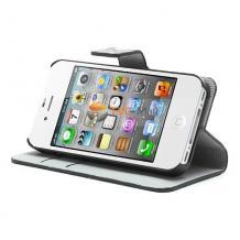 Кожен калъф Flip тефтер със стойка за Apple iPhone 4 / iPhone 4S - черен / цветен