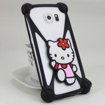 Универсален силиконов 3D Бъмпер / Bumper / за Apple , Samsung , HTC , LG , Nokia , Sony , Huawei , Lenovo , ZTE , Motorola и др. - черен / Hello Kitty