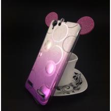 Луксозен силиконов калъф / гръб / TPU 3D за Lenovo Vibe K5 / Vibe K5 Plus / A6020 - преливащ / сребристо и лилаво / брокат / миши ушички / 2в1 / кръгове