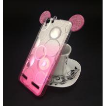 Луксозен силиконов калъф / гръб / TPU 3D за Lenovo Vibe K5 / Vibe K5 Plus / A6020 - преливащ / сребристо и розово / брокат / миши ушички / 2в1 / кръгове