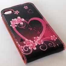 Кожен калъф Flip тефтер за Apple iPhone 4 / iPhone 4S - черен със сърце