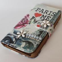 Кожен калъф Flip тефтер с камъни и стойка за Apple iPhone 4 / iPhone 4S - Paris Love Me