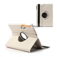 Кожен калъф за таблет за Apple iPad 5 AIR / iPad Air със стойка въртяща се на 360 градуса - бял