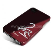 Заден предпазен капак за iPhone 4/ 4S - Swarovski Diamond Swan - винено червен