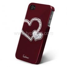 Заден предпазен капак за iPhone 4/ 4S - Swarovski Diamond Heart - винено червен
