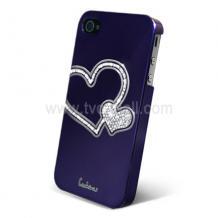 Заден предпазен капак за iPhone 4/ 4S - Swarovski Diamond Heart - виолетов