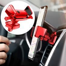 Универсална стойка за кола Baseus Robot Auto Clip Car Mount за Samsung, Apple, Huawei, Lenovo, LG, HTC, Sony, Nokia, ZTE - червена / въртяща се на 360 градуса