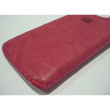 Кожен калъф с издърпване за Iphone 4 / Iphone 4S - Розов с лого