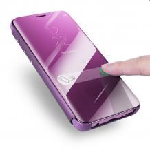 Луксозен калъф Clear View Cover с твърд гръб за Huawei Y7 2019 - лилав