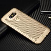 Луксозен твърд гръб LOOPEE Case за LG V20 - златист / Grid
