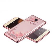 Луксозен силиконов калъф / гръб / TPU с камъни за Xiaomi Mi 9T - прозрачен / розови цветя / Rose Gold кант
