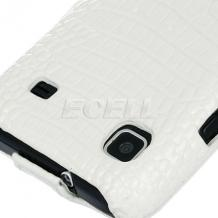 Кожен калъф Croco Style за Samsung i9000 Galaxy S/ i9001 - бял