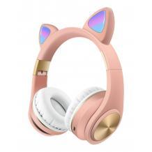 Стерео LED слушалки Bluetooth Cat Ear M1 / Wireless Headphones / безжични LED слушалки Cat Ear M1 - розови