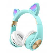 Стерео LED слушалки Bluetooth Cat Ear M1 / Wireless Headphones / безжични LED слушалки Cat Ear M1 - сини