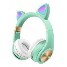 Стерео LED слушалки Bluetooth Cat Ear M1 / Wireless Headphones / безжични LED слушалки Cat Ear M1 - зелени