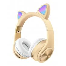 Стерео LED слушалки Bluetooth Cat Ear M1 / Wireless Headphones / безжични LED слушалки Cat Ear M1 - кремави