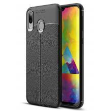 Луксозен силиконов калъф / гръб / TPU за Samsung Galaxy M20 - черен / имитиращ кожа