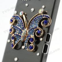 Луксозен заден предпазен твърд гръб / капак / с камъни за BlackBerry Z10 - пеперуда / прозрачен