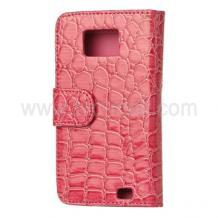 Кожен калъф за Samsung i9100 Galaxy S II - Croco Style - розов