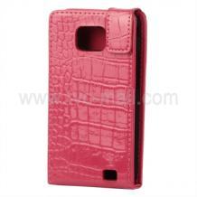 Кожен калъф Croco Style за Samsung i9100 Galaxy S II  flip розов