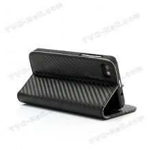 Кожен калъф Flip тефтер Carbon със стойка за BlackBerry Z10 - черен