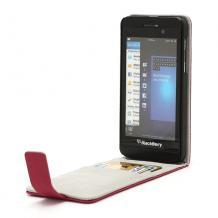 Кожен калъф Flip тефтер Presto за BlackBerry Z10 - червен / мрежа
