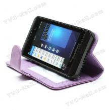 Кожен калъф Flip тефтер със стойка за BlackBerry Z10 - лилав