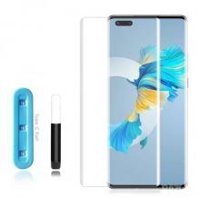 UV Full Cover Tempered Glass Full Glue Screen Protector Huawei Mate 40 Pro / Извит UV стъклен скрийн протектор с лепило от вътрешната страна за Huawei Mate 40 Pro