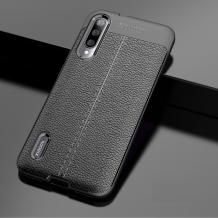 Луксозен силиконов калъф / гръб / TPU за Samsung Galaxy A50/A30s/A50s - черен / имитиращ кожа
