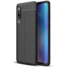 Луксозен силиконов калъф / гръб / TPU за Xiaomi Redmi 7A - черен / имитиращ кожа