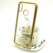 Луксозен силиконов калъф / гръб / TPU / Elegant с камъни за Xiaomi Mi A2 / Mi 6X - прозрачен със златист кант / перо