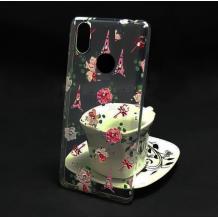 Луксозен силиконов калъф / гръб / TPU с камъни за Xiaomi RedMi Note 6 / Note 6 Pro - Айфелова кула и цветя
