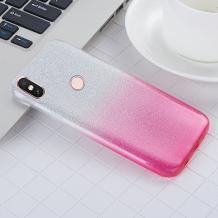 Силиконов калъф / гръб / TPU за Xiaomi Mi A2 / Mi 6X - преливащ / сребристо и розово / брокат