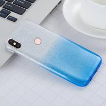 Силиконов калъф / гръб / TPU за Xiaomi Mi A2 / Mi 6X - преливащ / сребристо и синьо / брокат