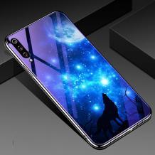 Луксозен стъклен твърд гръб със силиконов кант за Xiaomi Redmi Mi A3 - синьо съзвездие