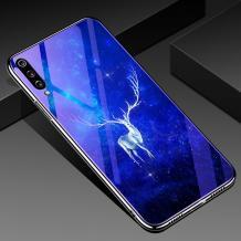 Луксозен стъклен твърд гръб със силиконов кант за Xiaomi Redmi Mi A3 - бял елен