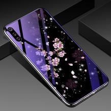 Луксозен стъклен твърд гръб със силиконов кант за Xiaomi Redmi Mi A3 - лилави цветя