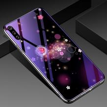 Луксозен стъклен твърд гръб със силиконов кант за Xiaomi Redmi Mi A3 - цветя и кръгове