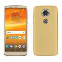 Силиконов калъф / гръб / TPU за Motorola Moto E5 Plus - златист / Carbon