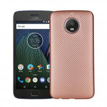 Силиконов калъф / гръб / TPU за Moto G5S+ / Moto G5S Plus - Rose Gold / Carbon