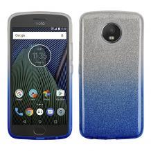 Силиконов калъф / гръб / TPU за Motorola Moto G5S - преливащ / сребристо и синьо / брокат