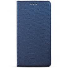 Кожен калъф Magnet Case със стойка за Motorola Moto G6 - син