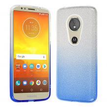Силиконов калъф / гръб / TPU за Motorola Moto E5 Play - преливащ / сребристо и синьо / брокат