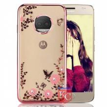 Луксозен силиконов калъф / гръб / TPU с камъни за Motorola Moto E5 Plus - прозрачен / розови цветя / Rose Gold кант