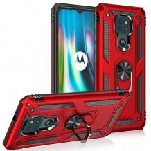 Силиконов гръб TPU Hybrid Magnetic Finger Ring Car Holder за Motorola Moto G9 Play - червен