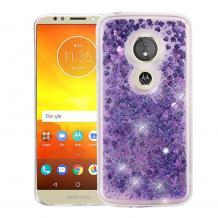 Луксозен твърд гръб 3D Water Case за Motorola Moto E5 Play - прозрачен / течен гръб с брокат / сърца / лилав