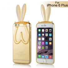 """Силиконов калъф / гръб / TPU 3D Rabbit за Apple iPhone 6 4,7"""" - златен"""