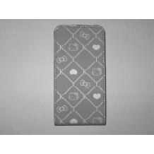 Кожен калъф тип Flip за Iphone 4/4S - Hello Kitty сив